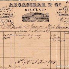 Facturas antiguas: FACTURA LITOGRAFIA FABRICA DE PANAS Y CASTORES EN SANS Y BARCELONA ASCACIBAR Y CIA . AÑO 1871. Lote 95362963