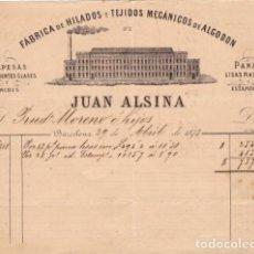 Facturas antiguas: FACTURA LITOGRAFIA FABRICA DE HILADOS Y TEJIDOS DE ALGODON JUAN ALSINA. BARCELONA . AÑO 1873. Lote 95364315