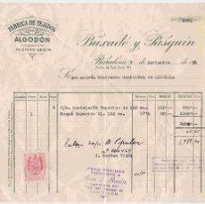 Facturas antiguas: BUXADÉ Y PASQUÍN, BARCELONA. FACTURA NO. 2381 DE FECHA 9-11-51 A A.CONTRERAS,LIBRILLA (MURCIA). Lote 95934211