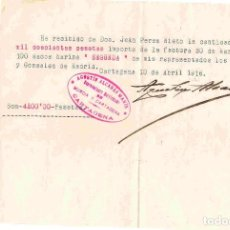 Facturas antiguas: CARTAGENA. FACTURA/RECIBO DEL 10-ABRIL-1916. Lote 95994967