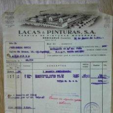 Facturas antiguas: ENVÍO GRATIS. LACAS & PINTURAS. FÁBRICA DE PINTURAS MODERNAS. BENICARLÓ, CASTELLÓN, 1951. Lote 96106475