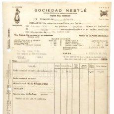 Facturas antiguas: FACTURA SOCIEDAD NESTLE CHOCOLATES HARINAS. LA LECHERA. BARCELONA 1934. Lote 96155023