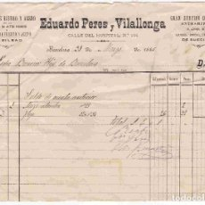 Facturas antiguas: FACTURA ANTIGUA DE EDUARDOPEREZ Y VILALLONGA, BARCELONA. FECHA 31-MARZO-1886. Lote 96327915