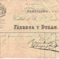 Facturas antiguas: FACTURA ANTIGUA. FÁBREGA Y DURÁN . BARCELONA. FECHA 6-8-1886. Lote 96328319