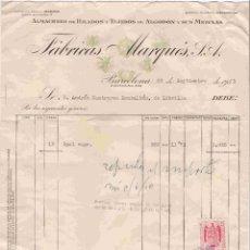 Facturas antiguas: FÁBRICAS MARQUÉS,S.A., BARCELONA- FACTURA DEL 29-9-1951. Lote 96338219