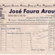 Facturas antiguas: FACTURA Y CARTA DE JOSÉ FAURA ARAUJO, CARTEGENA. FECHAS 25/26 OCT. 1951. Lote 96356543