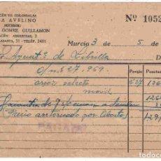 Facturas antiguas: CASA AVELINO, MURCIA. AL AYUNTTO. DE LIBRILLA. Fª Nº. 10526 DEL 3-5-1941. Lote 96357135