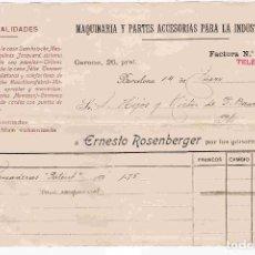 Facturas antiguas: FACTURA ANTIGUA. ERNESTO ROSENBERGER,BARCELONA. FACTURA NO. 1705 DEL 14-1-1901. Lote 96360615