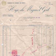 Facturas antiguas: HIJO DE MIGUEL GIL , VALENCIA. FACTUR DEL 25-6-1956. Lote 96484723
