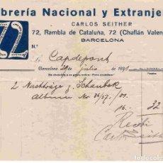 Facturas antiguas: LIBRERÍA NACIONAL Y EXTRANJERA, BARCELONA . FACTURA 29-7-1921. Lote 96486483