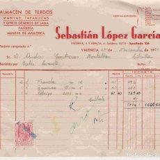 Facturas antiguas: SEBASTIÁN LÓPEZ GARCÍA,VALENCIA . FACTURA DEL 27-11-54 A ANDRÉS CONTRERAS, DE LIBRILLA. Lote 96486839