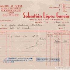 Facturas antiguas: SEBASTIÁN LÓPEZ GARCÍA. VALENCIA, FACTURA DEL 7-5-56 A ANDRÉS CONTRERAS, DE LIBRILLA. Lote 96487131