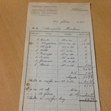 Facturas antiguas: ANTIGUA FACTURA NOTA EDITORIAL VIRGILI ESTABLECIMIENTO TIPOGRÁFICO BARCELONA 1919. Lote 96543643