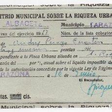 Facturas antiguas: IMPUESTO SOBRE LA RIQUEZA URBANA - TARAZONA - ALBACETE - 1957. Lote 96710891