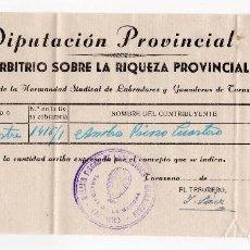 Facturas antiguas: IMPUESTO SOBRE LA RIQUEZA PROVINCIAL - TARAZONA DE LA MANCHA - ALBACETE 1957. Lote 96711071