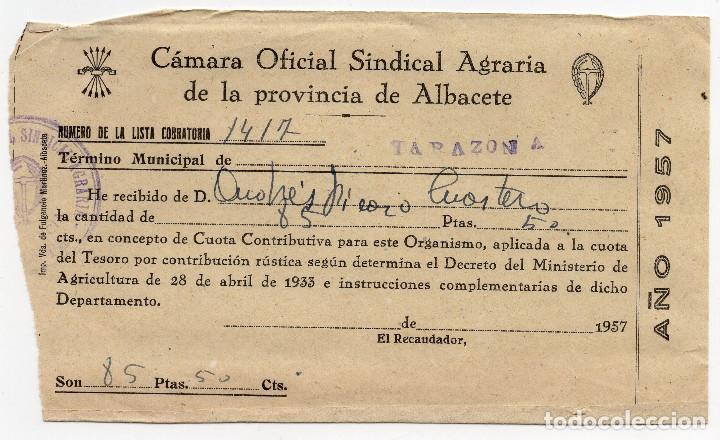 CÁMARA OFICIAL SINDICAL DE LA PROVINCIA DE ALBACETE - TARAZONA DE LA MANCHA - ALBACETE 1957 (Coleccionismo - Documentos - Facturas Antiguas)