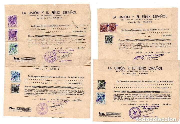 4 FACTURAS LA UNIÓN Y FENIX ESPAÑOL. COMPAÑIA DE SEGUROS. 1954 - TIMBRES FISCALES (Coleccionismo - Documentos - Facturas Antiguas)