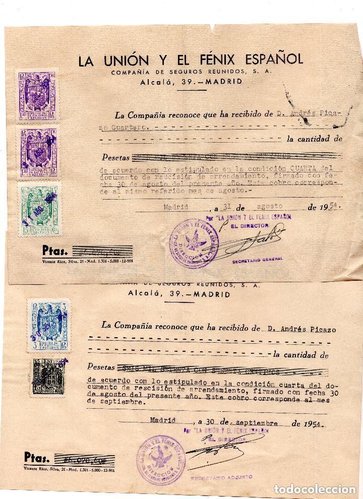 Facturas antiguas: 4 FACTURAS LA UNIÓN Y FENIX ESPAÑOL. COMPAÑIA DE SEGUROS. 1954 - TIMBRES FISCALES - Foto 2 - 96712299