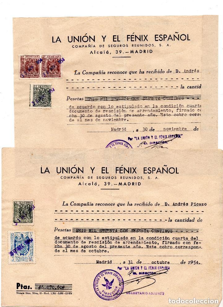 Facturas antiguas: 4 FACTURAS LA UNIÓN Y FENIX ESPAÑOL. COMPAÑIA DE SEGUROS. 1954 - TIMBRES FISCALES - Foto 3 - 96712299