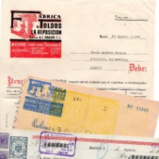 Facturas antiguas: FACTURA - RECIBO - PAGARE - TIMBRES FISCALES - FABRICA DE TOLDOS LA REPOSICIÓN. Lote 96713799