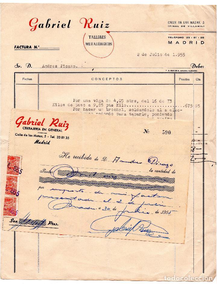 FACTURA - RECIBO - GABRIEL RUIZ TALLERES METALURGICOS - MADRID (Coleccionismo - Documentos - Facturas Antiguas)