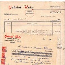 Facturas antiguas: FACTURA - RECIBO - GABRIEL RUIZ TALLERES METALURGICOS - MADRID. Lote 96713879
