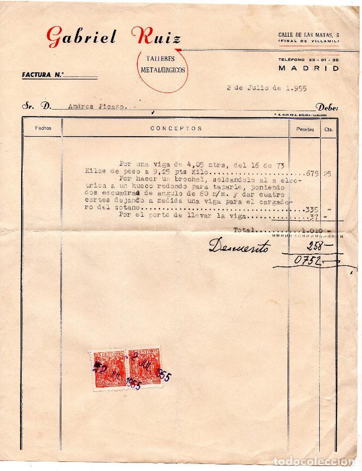Facturas antiguas: FACTURA - RECIBO - GABRIEL RUIZ TALLERES METALURGICOS - MADRID - Foto 2 - 96713879