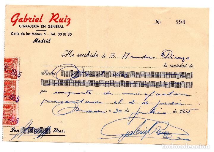 Facturas antiguas: FACTURA - RECIBO - GABRIEL RUIZ TALLERES METALURGICOS - MADRID - Foto 3 - 96713879