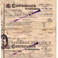 Facturas antiguas: HACIENDA PUBLICA - CONTRIBUCIÓN TERRITORIAL RIQUEZA URBANA - 1935 - CALLE. BLASCO DE GARAY MADRID. Lote 96714051