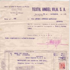 Facturas antiguas: TEXTIL ANGEL VILA,S.A. , DE BARCELONA. FACTURA DD 14-11-1951. Lote 96821215