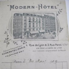 Facturas antiguas: FACTURA 1909 MODERN HOTEL DE PARIS . Lote 97239619