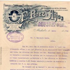 Fatture antiche: FACTURA. FÁBRICA DE LÁMPARAS ELÉCTRICAS. FRANCISCO PEREZ E HIJOS. MADRID. FIRMA. Lote 97315603