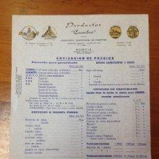 Fatture antiche: ANTIGUO CATALOGO DE PRECIOS PRODUCTOS CUMBRE PIMENTON MOLINO EL PORCHE MURCIA. Lote 97655395