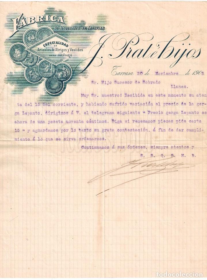 FACTURA FÁBRICA DE LANAS Y TEJIDOS EN ALGODÓN PRAT E HIJOS. TARRASA BARCELONA AÑO 1905 (Coleccionismo - Documentos - Facturas Antiguas)