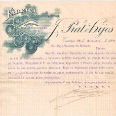 Facturas antiguas: FACTURA FÁBRICA DE LANAS Y TEJIDOS EN ALGODÓN PRAT E HIJOS. TARRASA BARCELONA AÑO 1905. Lote 97682567