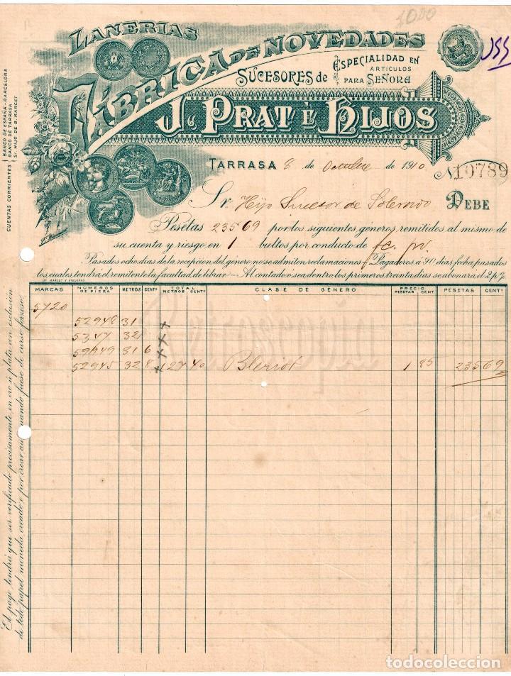 FACTURA FÁBRICA DE LANAS Y TEJIDOS EN ALGODÓN PRAT E HIJOS. TARRASA BARCELONA AÑO 1910 (Coleccionismo - Documentos - Facturas Antiguas)