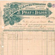 Facturas antiguas: FACTURA FÁBRICA DE LANAS Y TEJIDOS EN ALGODÓN PRAT E HIJOS. TARRASA BARCELONA AÑO 1910. Lote 97682715