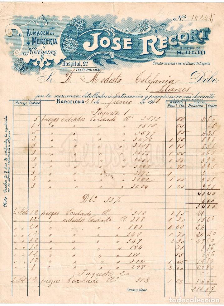 FACTURA ALMACÉN DE TEJIDOS MERCERÍA Y NOVEDADES JOSÉ RECORT. BARCELONA AÑO 1911 (Coleccionismo - Documentos - Facturas Antiguas)