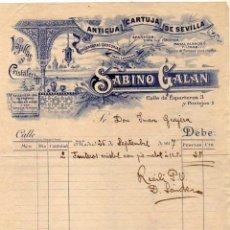 Facturas antiguas: FACTURA. MADRID. ANTIGUA CARTUJA DE SEVILLA. SABINO GALÁN VAJILLAS Y CRISTALERÍAS. MADRID. Lote 97683359