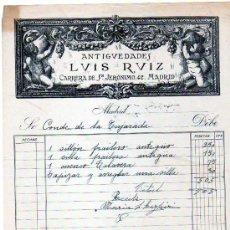 Fatture antiche: FACTURA. ANTIGÜEDADES LUIS RUIZ. CARRERA DE SAN JERÓNIMO. MADRID. FIRMA.. Lote 97684047
