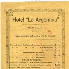 Faturas antigas: FACTURA. HOTEL LA ARGENTINA. NAVIA. REGLAS GENERALES DEL SERVICIO. ASTURIAS. . Lote 97684879