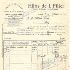 Facturas antiguas: ALICANTE - HIJOS DE J. PILLET FÁBRICA DE ESPEJOS Y LUNAS - ARRIBA ESPAÑA Y AÑO DE LA VICTORIA - 1939. Lote 97998971