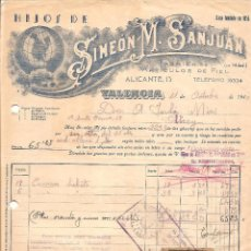 Facturas antiguas: VALENCIA - SIMEÓN M. SANJUÁN FÁBRICA ARTÍCULOS PIEL - OCTUBRE 1940 - SERVICIOS PROVINCIALES VALENCIA. Lote 97999763