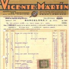 Facturas antiguas: BARCELONA -VICENTE MARTÍN ARTÍCULOS ESCRITORIO - ABRIL 1940 - SERVICIOS PROVINCIALES BARCELONA. Lote 98000015