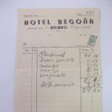Facturas antiguas: FACTURA RECIBO DEL HOTEL BEGOÑA DE BILBAO. AÑOS 40. TDKP12. Lote 98642443