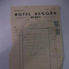 Facturas antiguas: FACTURA RECIBO DEL HOTEL BEGOÑA DE BILBAO. 1946. TDKP12. Lote 98642475