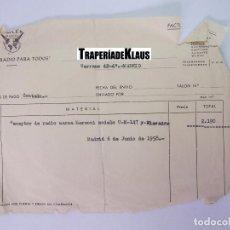 Facturas antiguas: FACTURA ALBARAN SERVICIO RADIO PARA TODOS. JUNIO DE 1958. MADRID. TDKP12. Lote 98643227
