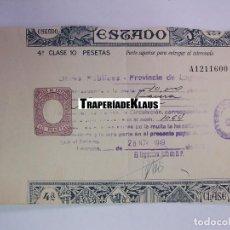 Facturas antiguas: FACTURA RECIBO OBRAS PUBLICAS PROVINCIA DE LOGROÑO. PAGOS AL ESTADO. NOVIEMBRE 1949. TDKP12. Lote 98643519