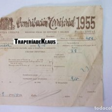 Facturas antiguas: ALBARAN CONTRIBUCION TERRITORIAL 1955. RIQUEZA URBANA. HACIENDA PUBLICA. ENTRENA. LA RIOJA. TDKP12. Lote 98643835