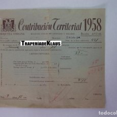 Facturas antiguas: ALBARAN CONTRIBUCION TERRITORIAL 1958. RIQUEZA URBANA. HACIENDA PUBLICA. ENTRENA. LA RIOJA. TDKP12. Lote 98643923